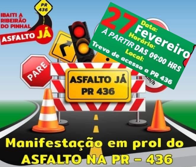 IBAITI: Manifestação que acontece amanhã pede pavimentação de rodovia entre Ibaiti e Pinhal