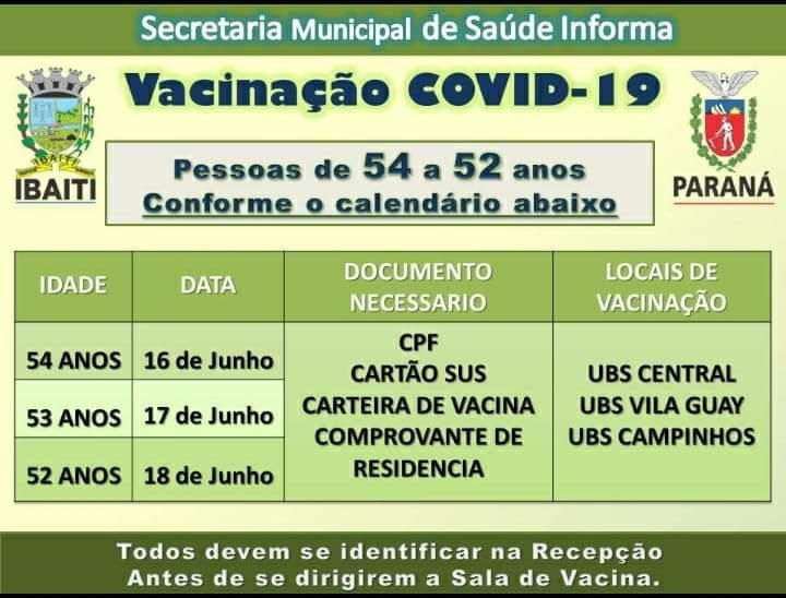 IBAITI: Calendário de vacinação para as pessoas com idades entre 52 e 54 anos sem comorbidades