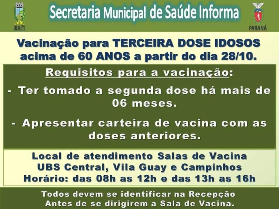 IBAITI: Atenção - 3ª dose da vacina para pessoas com mais de 60 anos inicia hoje (28/10)